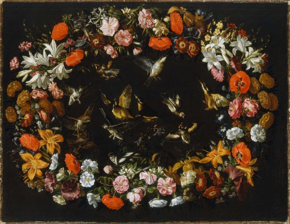 Grande ghirlanda di fiori con due rondini niccol stanchi for Sculture di fiori
