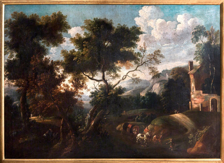 Paesaggio Boschivo Della Campagna Romana Con Figure Gaspard Dughet