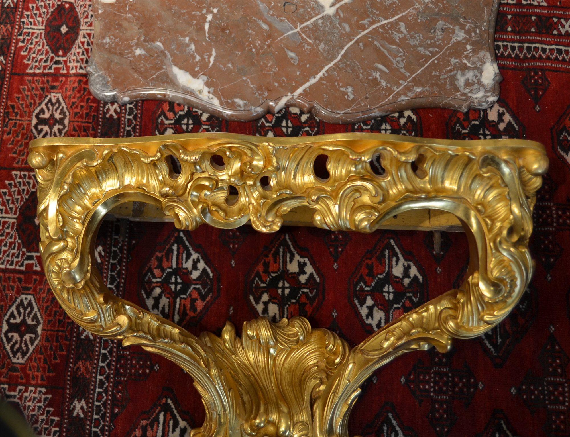 Consolle luigi xv d applique in legno intagliato e dorato